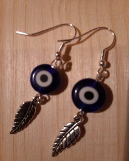 Boucles d'oreilles plume argentée Nazar Boncuk 1