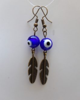 Boucles d'oreille plume oeil bleu