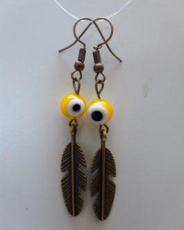 Boucles d'oreille plume oeil jaune