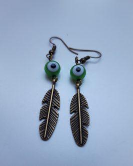 Boucles d'oreille plume oeil vert