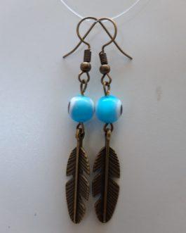 Boucles d'oreille plume oeil turquoise