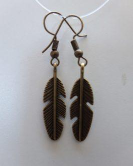 Boucles d'oreille plume laiton bronze antique