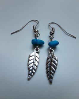 Boucles d'oreille plume perle turquoise 2