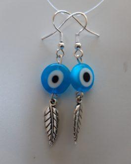 Boucles d'oreille plume argentée oeil turquoise