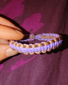 Bracelet bicolore mauve et marron 16cm