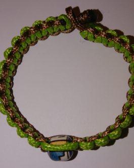 Bracelet perle marron et vert 17cm