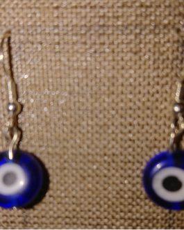 Boucles d'oreilles oeil plat bleu