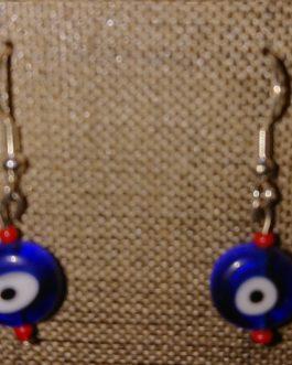 Oeil bleu perles de rocaille rouge