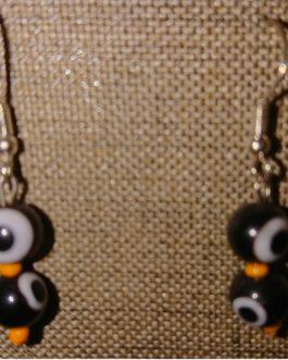 Boucles d'oreilles oeils noirs perles de rocaille