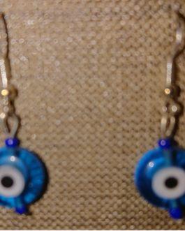 boucles d'oreilles oeil turquoise perles de rocaille