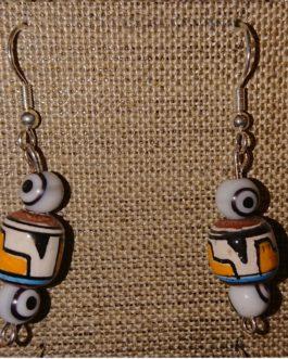 Boucles d'oreilles oeils blancs perle péruvienne