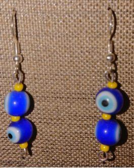 Boucles d'oreilles oeils bleus perles de rocaille jaunes