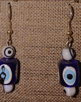 Boucles d'oreilles oeils blancs Nazar Boncuk
