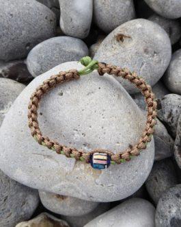Bracelet entrelacé perle marron et vert 20cm