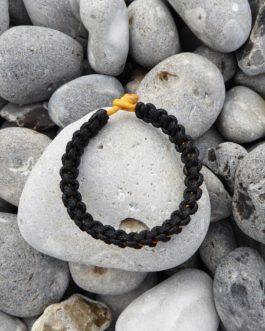 Bracelet entrelacé bicolore noir et jaune 20cm