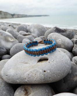 bracelet bicolore marron et bleu 16cm