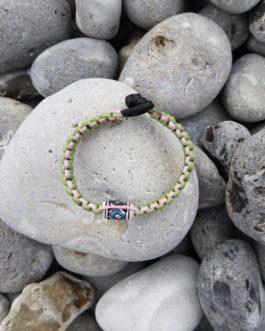Bracelet perle rose, vert et noir 18cm