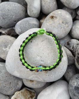 Bracelet perle noir et vert 18cm