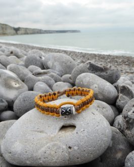 Bracelet perle jaune et marron 19cm