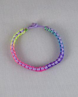 Bracelet bicolore mauve et multicouleur 18cm
