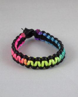 Bracelet bicolore noir et multicouleur 16cm