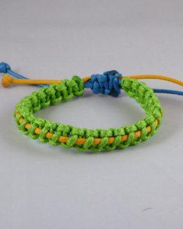 Bracelet entrelacé vert et jaune