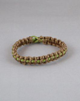 Bracelet entrelacé marron et vert 18cm