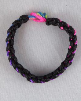Bracelet entrelacé noir et multicouleur 16cm