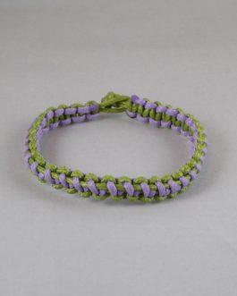 Bracelet entrelacé vert et mauve 21cm