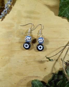 Boucles d'oreilles oeil plat noir perle péruvienne