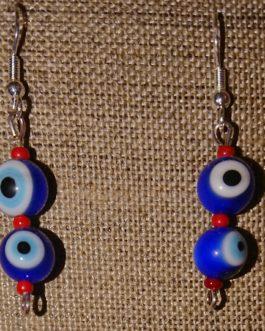 Boucles d'oreilles oeils bleus perles de rocaille rouges