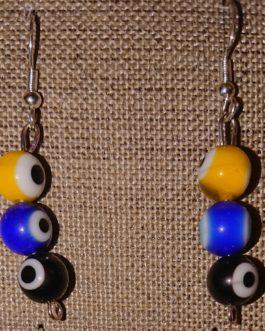 Boucles d'oreilles oeil jaune bleu noir