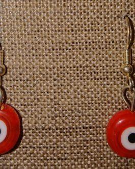 Boucles d'oreilles oeil plat rouge