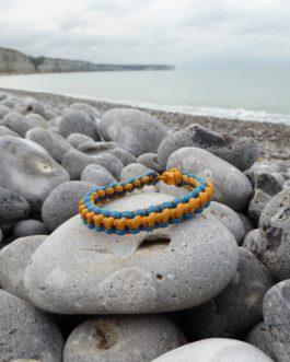 Bracelet entrelacé bleu et jaune 20cm