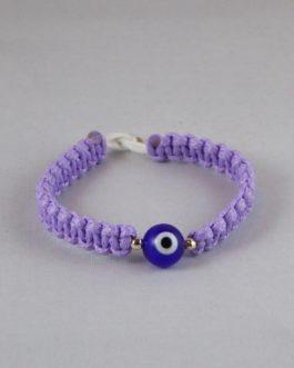 Bracelet violet perle Nazar Boncuk bleue