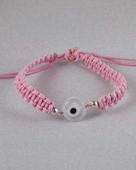 Bracelet Nazar Boncuk rose perle blanche