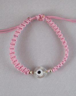 Bracelet rose perle Nazar Boncuk blanche