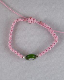 Bracelet rose perle Nazar Boncuk verte