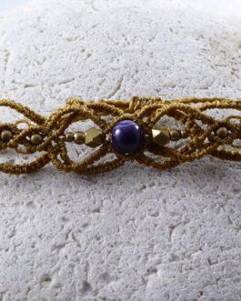 Bracelet Fin Macramé Marron Améthyste