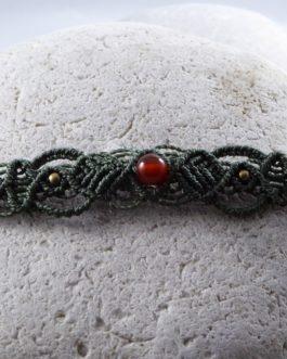 Bracelet Fin Macramé Vert Cornaline