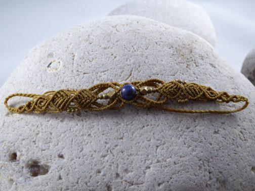 Bracelet fin macramé marron lapis lazuli