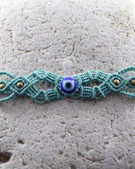 Bracelet Fin Macramé Bleu Mauvais Œil