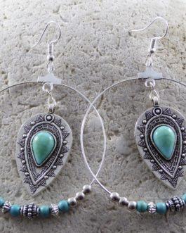 Créoles Gouttes Amérindiennes Turquoise