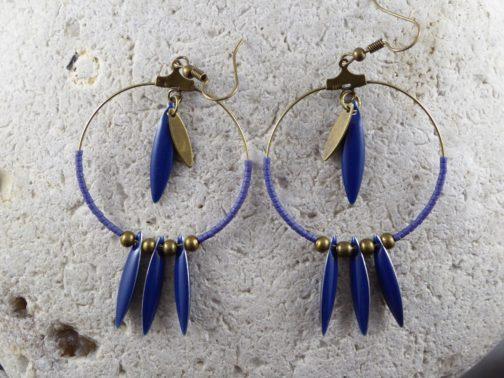 créoles bronze navettes bleues