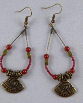 Boucles Gouttes Bronze Rouge Cornaline