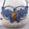 collier macramé bleu oeil-de-tigre