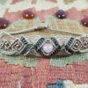 Bracelet fin macramé taupe quartz rose
