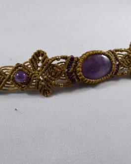 Bracelet Macramé Améthyste Marron
