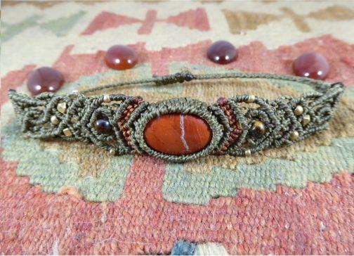 Bracelet Macramé Jaspe Rouge Kaki