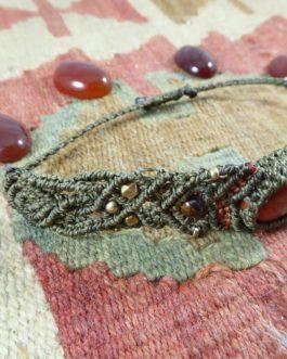 Bracelet Macramé Kaki Jaspe Rouge